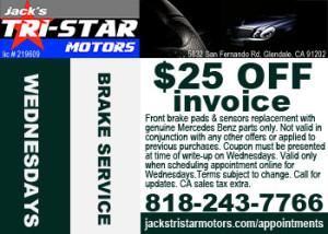 mercedes brake service price special on wednesdays