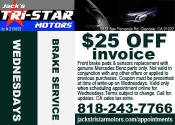 Mercedes brakes service special on Wednesdays at Jack's Tri-Star Motors