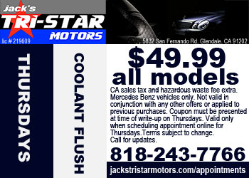 Mercedes coolant flush service special on Thursdays at Jack's Tri-Star Motors