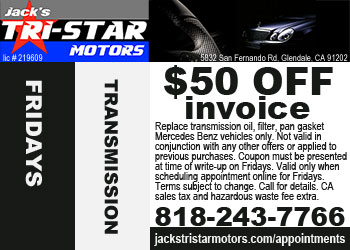 Mercedes transmission service special on Fridays at Jack's Tri-Star Motors
