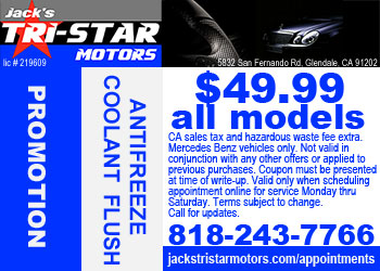 Mercedes antifreeze coolant flush and refill promo for VIP Club members at Jack's Tri-Star Motors