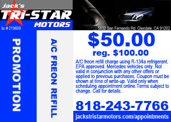 Mercedes freon A/C refill promo at Jack's Tri-Star Motors