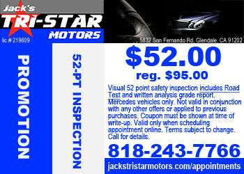 Mercedes 52 point safety inspection promo for VIP Club members at Jack's Tri-Star Motors