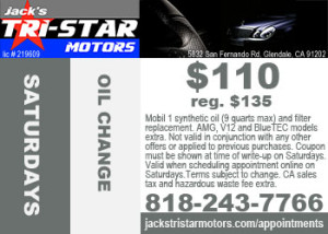 Mercedes oil change service special on Saturdays at Jack's Tri-Star Motors