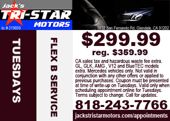 Mercedes Flex B service special on Tuesdays at Jack's Tri-Star Motors