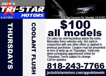 Mercedes coolant flush service special on Thursdays at Jack's Tri-Star Motors