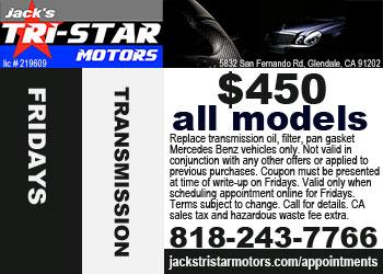 Mercedes transmission service special on Fridays at Jack's Tri-Star Motors